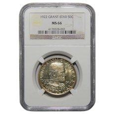 1922 Ngc MS66 Grant Star Half Dollar