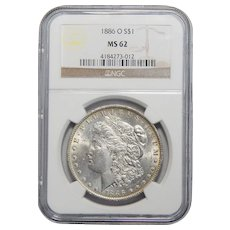1886-O Ngc MS62 Morgan Dollar