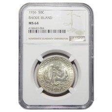 1936 Ngc MS64 Rhode Island Half Dollar