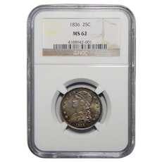1836 Ngc MS62 Capped Bust Quarter