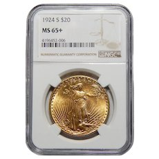 1924-S Ngc MS65+ $20 St. Gaudens