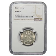 1831 Ngc MS64 Small Letters Capped Bust Quarter