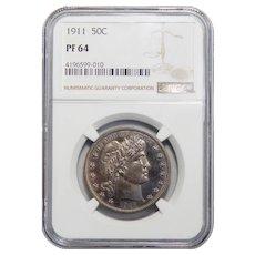 1911 Ngc PF64 Barber Half Dollar