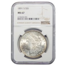1891-S Ngc MS67 Morgan Dollar