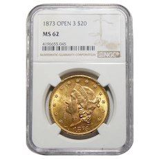 1873 Ngc MS62 $20 Open 3 Liberty Head Gold