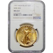 1907 Ngc MS65+ $20 High Relief-Wire Edge St Gaudens