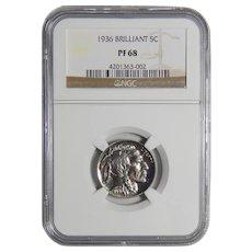 1936 Ngc PF68 Brilliant Buffalo Nickel