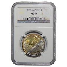 1928 Ngc MS67 Hawaiian Half Dollar