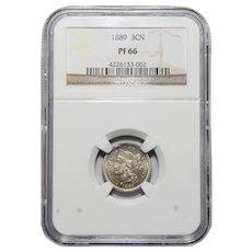 1889 Ngc PR66 Three Cent Nickel