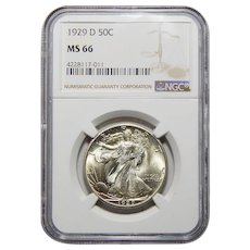 1929-D Ngc MS66 Walking Liberty Half Dollar