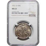 1921-D Ngc MS63 Walking Liberty Half Dollar