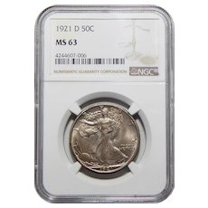 1921-D Ngc MS63 Walking Liberty Half Dollar