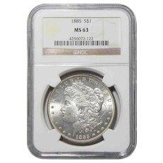 1885 Ngc MS63 Morgan Dollar