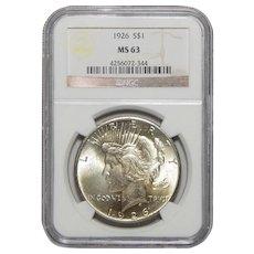 1926 Ngc MS63 Peace Dollar
