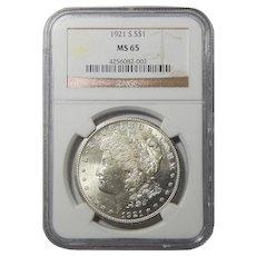 1921-S Ngc MS65 Morgan Dollar