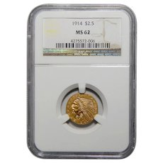 1914 Ngc MS62 $2.50 Indian Gold