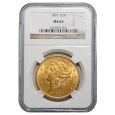 1893 Ngc MS60 $20 Liberty Head Gold