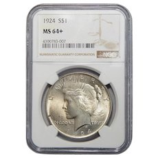 1924 Ngc MS64+ Peace Dollar