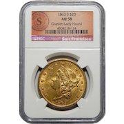 1863-S Ngc AU58 $20 Liberty Head Gold (Granite Lady Hoard)