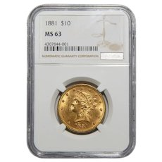 1881 Ngc MS63 $10 Liberty Head Gold