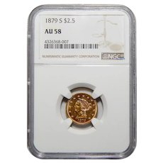 1879-S Ngc AU58 $2.50 Liberty Head Gold