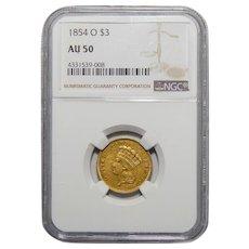 1854-O Ngc AU50 $3 Gold