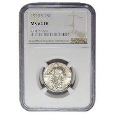 1929-S Ngc MS64FH Standing Liberty Quarter