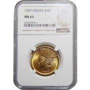 1907 Ngc MS65 $10 No Motto Indian Gold