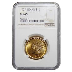 1907 Ngc MS65 $10 No Motto Indian Gold