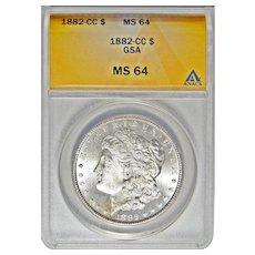 1882-CC Anacs MS64 Morgan Dollar