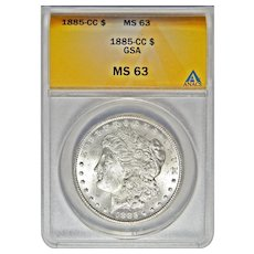 1885-CC Anacs MS63 Morgan Dollar