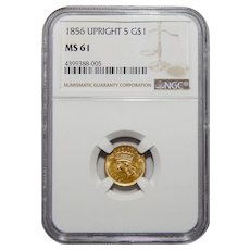 1856 Ngc MS61 Upright 5 Gold Dollar
