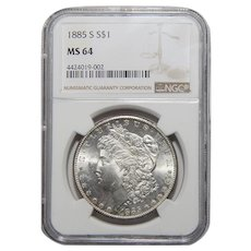1885-S Ngc MS64 Morgan Dollar