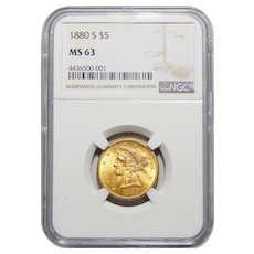 1880-S Ngc MS63 $5 Liberty Head Gold