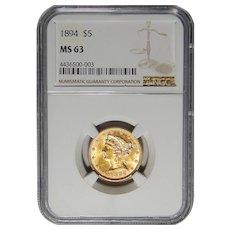 1894 Ngc MS63 $5 Liberty Head Gold
