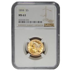 1894 Ngc MS63 $5 Liberty Head Gold