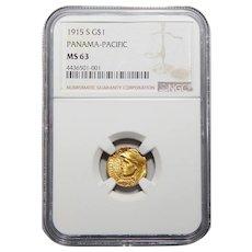 1915-S Ngc MS63 $1 Panama-Pacific Gold