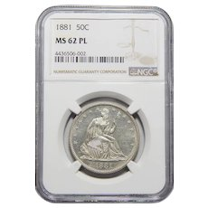 1881 Ngc MS62PL Liberty Seated Half Dollar