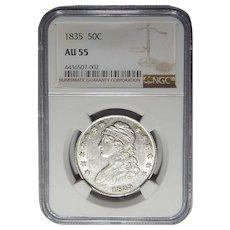 1835 Ngc AU55 Capped Bust Half Dollar