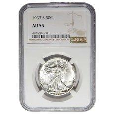 1933-S Ngc AU55 Walking Liberty Half Dollar