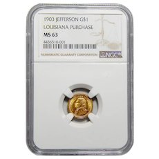 1903 Ngc MS63 LA Purchase, Jefferson Gold Dollar