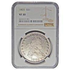 1803 Ngc VF30 Large 3 Draped Bust Dollar