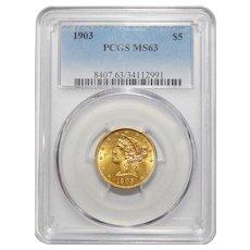 1903 Pcgs MS63 $5 Liberty Head Gold