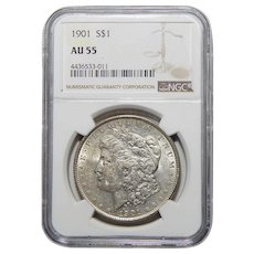 1901 Ngc AU55 Morgan Dollar