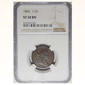 1806 Ngc VF20BN Large 6, Stems Draped Bust Half Cent