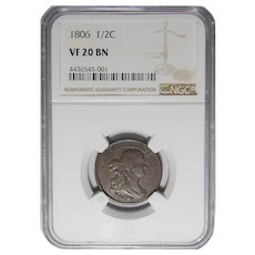 1806 Ngc VF20BN Large 6, Stems Draped Bust Half Cent