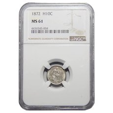 1872 Ngc MS61 Liberty Seated Half Dime