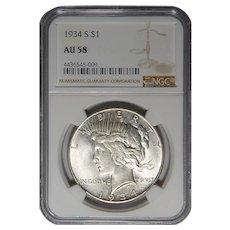 1934-S Ngc AU58 Peace Dollar