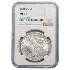 1881-CC Ngc MS64 Morgan Dollar