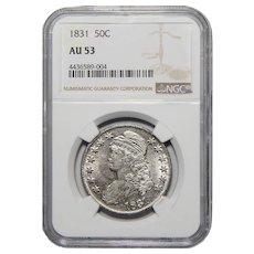 1831 Ngc AU53 Capped Bust Half Dollar
